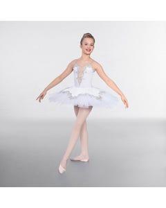 1st Position Prestige Ballett-Oberteil mit Silberbordüre und Überrock