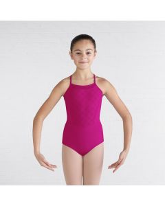 Bloch Diamond Heart Flocked Mesh Front Cross Back Cami Leotard