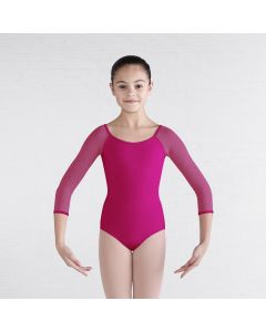 Bloch Diamond Heart Flocked Mesh 3/4 Sleeve Keyhole Bow Back Leotard