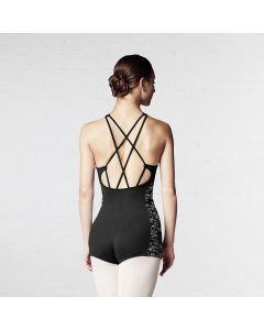 Bloch Printed Lily Stripe Mesh Open Cross Strap Back Unitard