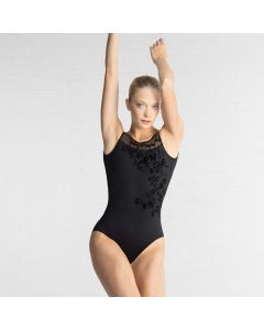 Ballet Rosa - Adele Trikot mit tiefem Rückenausschnitt und aufgesetzten Blumen