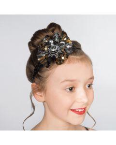 1st Position Glitz Kleid mit gold- und silberfarbenen Pailletten-Blumen
