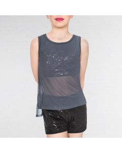 1st Position Sequin Urban Top with Mesh Overlay