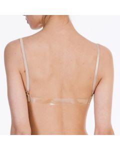 Nahtloser BH mit durchsichtigem Rückenteil / Hautfarbener Bustier