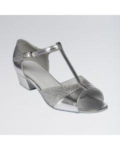 Amber Silberfarbene, glitzerbesetzte Standardschuhe aus PU mit T-Riemen und Schnallenverschluss zum Einhaken