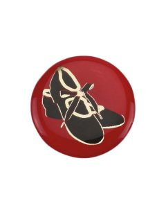 Medaillencenter mit Steppschuh-Motiv in rot/schwarz