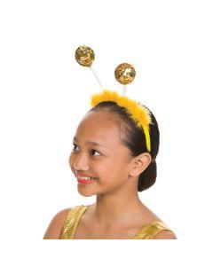 Haarreif mit goldfarbenen Glitzerkugeln