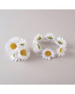 Kleine Haargummis mit Gänseblümchen (Paar)