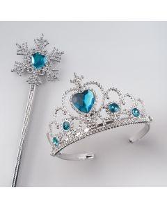 Tiara mit blauen Edelsteinimitaten und Schneeflocken-Stab
