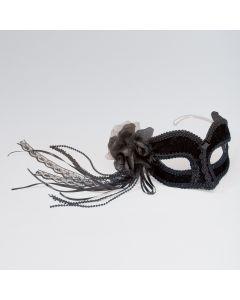 Schwarze Maske mit Blume (an Brille befestigt)