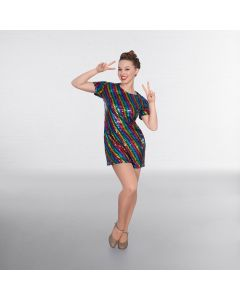 Rainbow Disco-Paillettenkleid