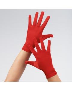Rote Satinhandschuhe - Erwachsenengröße