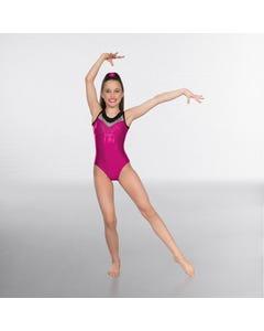 1st Premium Ärmelloses schwarz-rosa Gymnastik-Trikot mit Aufruck aus Diamantimitaten