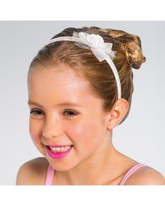 Weißes Haarband mit Rosenschleife, Kindergröße