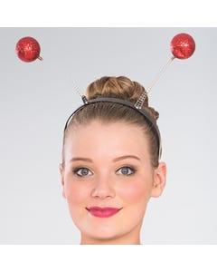 Haarreif mit roten Glitzerkugeln