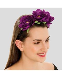 Elastisches Haarband mit drei violetten Blumen